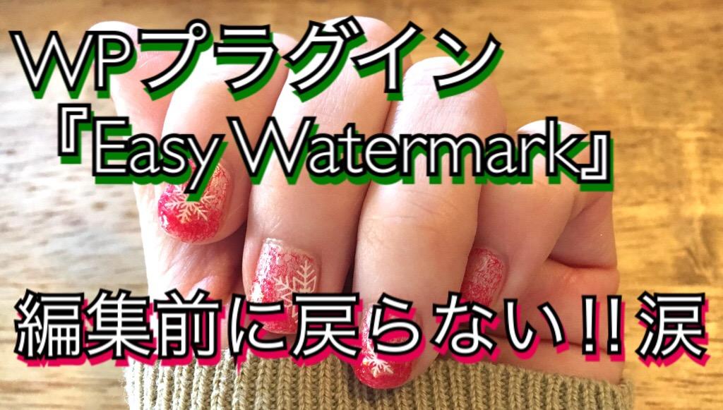 【後編】WPプラグイン「Easy WaterMark」編集前に戻らない!問題勃発!!